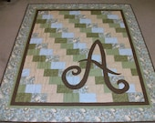 HANDQUILTED Patchwork quilt with contrast applique monogram, great for a wedding gift