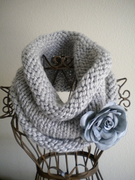 Chunky Grey Cowl with Flower