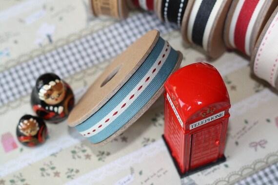 Middle Stitch BLUE Edge fabric woven cotton blend ribbon