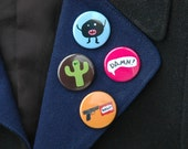 Set of four funky, kitsch, kawaii, emo, colorful, geeky badges, Badge Pack 1