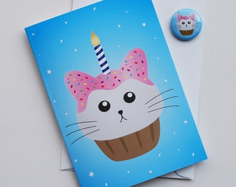 Cat Birthday Card, fat kitty cat cupcake blue white and pink birthday card with badge