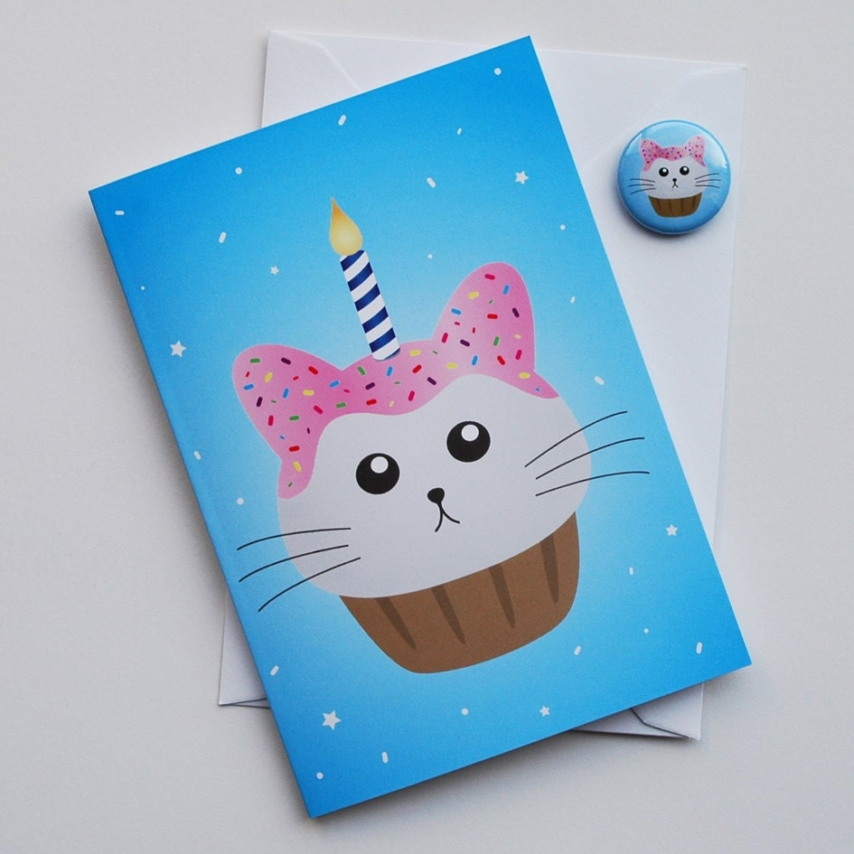 Cat Birthday Card Fat Kitty Cat Cupcake Blue White And Pink