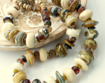 Handmade Lampwork bead necklace with sterling silver clasp