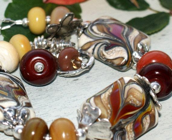 Handmade lampwork bead glass bracelet