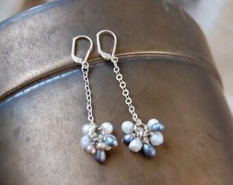 multi-pearl drop earrings