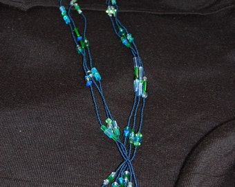 seed bead and czech glass lariat