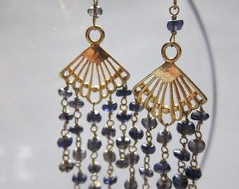 gold fringe & iolite fan earrings
