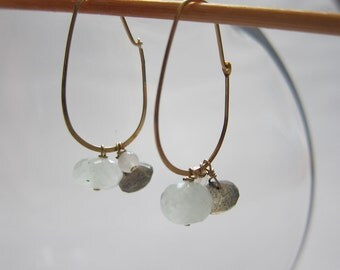 simple everyday gold plated multi-stone drop earrings