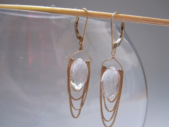draped gold filled chain with semi-precious stone earrings