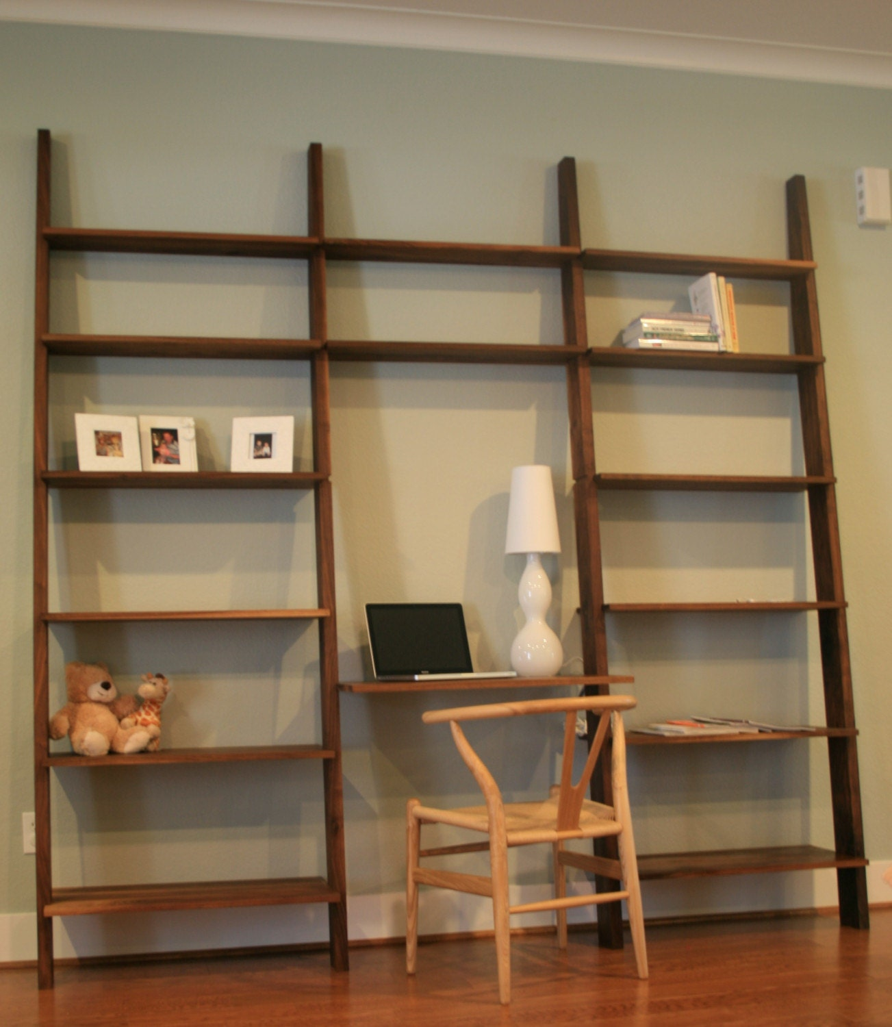 Leaning Book Shelf With Optional Computer Desk In Walnut