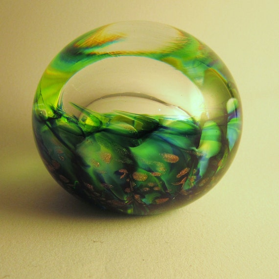 Lime Green Glass Frog-eye Paperweight