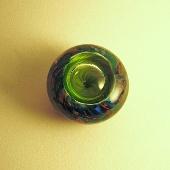 Miniature Glass Frog-eye Paperweight in Green and Turquoise