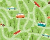 Riley Blake Fabric - Wheels - Green Map