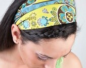 MEDIUM Boho Headband, Bohemian Head Wrap, Lime Green Head Band, Turquoise Blue Headwrap (Item 4205) HP
