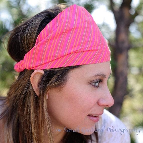 Headscarf Headband Hot Pink Hair Band Headscarves Head Scarf Head Wrap Stripe (Item 4217) PR Size S, M, L