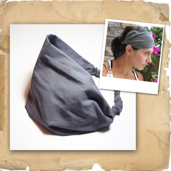 Headscarf Headband Gray Hair Band Headscarves Head Scarf Head Wrap Solid - LAST ONE