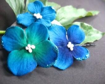 blue velvet hydrangea flower hair clip
