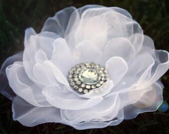 wedding flower flower hair clip handmade silk organza petals