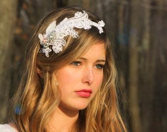 bridal headband, lace bridal halo, crystal rhinestone headpiece