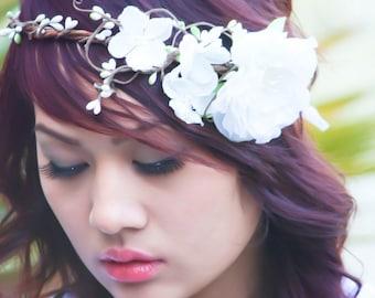 bridal headpiece, flower headpiece, woodland wedding  crown, bridal hair crown, woodland hair crown