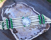 Hair pipe bone choker, Indian head coin, sweet grass green glass beads, trade beads, white heart french, black deer skin leather thin mini