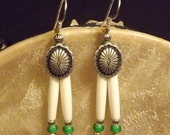 green bone hair pipe earrings, mini hairpipe, oval southwestern style concho, sweet grass green white heart beads, cowgirl native style