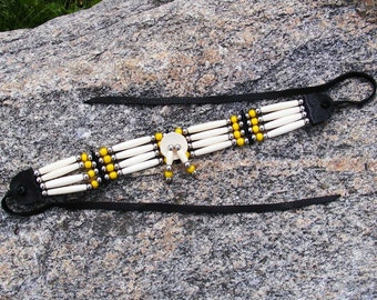 Bone hair pipe choker, antique yellow white heart beads, african trade beads, hairpipe necklace, native american style, pow wow regalia
