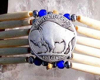 Bone hair pipe choker, buffalo coin, cobalt blue glass beads, native style, tribal, intertribal, pow wow regalia, dance jewelry, thin pipe