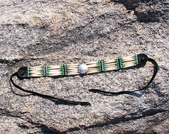 Indian head coin, bone hair pipe choker, sweet grass green glass beads, trade beads, white heart french, black deer skin leather, thin mini