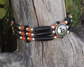 black horn hair pipe choker, Mimbres elk, deer button, orange and black, glass and leather, pow wow regalia, native style, tribal style