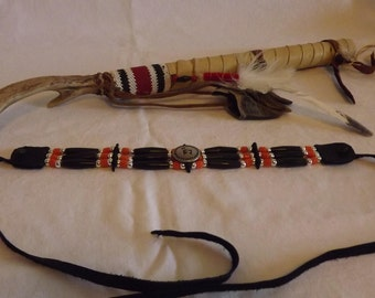 hair pipe choker, black horn Mimbres elk, deer button, orange and black, glass and leather, pow wow regalia, native style, tribal style