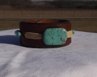 leather cuff bracelet, recycled belt, chocolate brown, turquoise, bone hair pipe, southwest jewelry, tobacco, 6 to 6.5 wrist