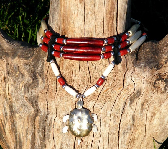 Reserved for Matthew Bone and red horn hair pipe choker with turtle