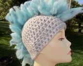 Gray and Blue MoHawk Hat