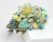 RESERVED Vintage Jewelry Collage Cuff Bracelet Aqua and Yellow Assemblage
