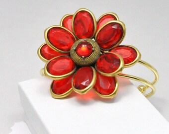 Red Statement Bracelet Vintage Flower Cuff Crimson Glass Petals