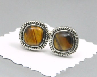 Tiger Eye Cuff Links Silver Squares Upcycled Vintage