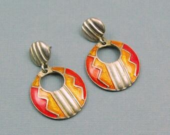 Orange Vintage Earrings Retro Enamel Desert Sunset