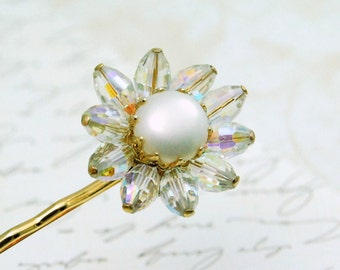 Crystal Pearl Flower Bobby Pin Upcycled Vintage Hair Accessory