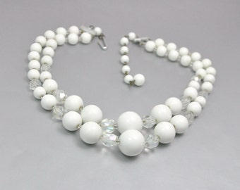 White Crystal Necklace Vintage Bead Bridal Jewelry