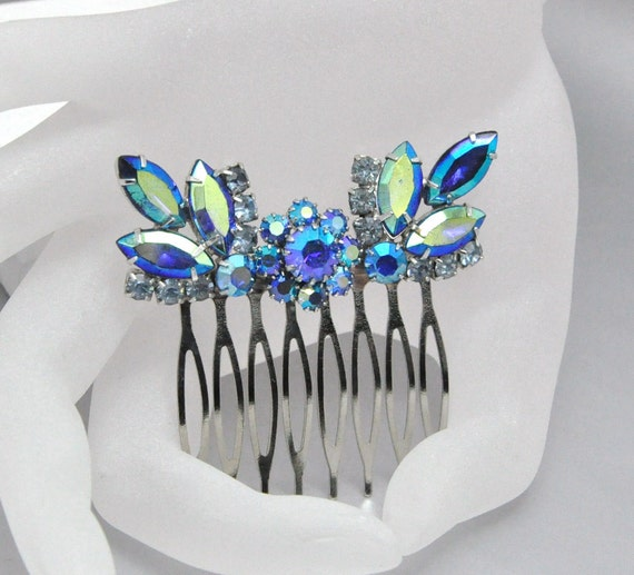 Peacock Rhinestone Hair Comb Bridal Wedding Accessory Upcycled Vintage