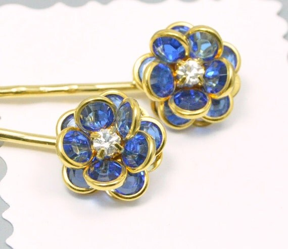 Blue and Gold Flower Bobby Pin Vintage Hair Accessory