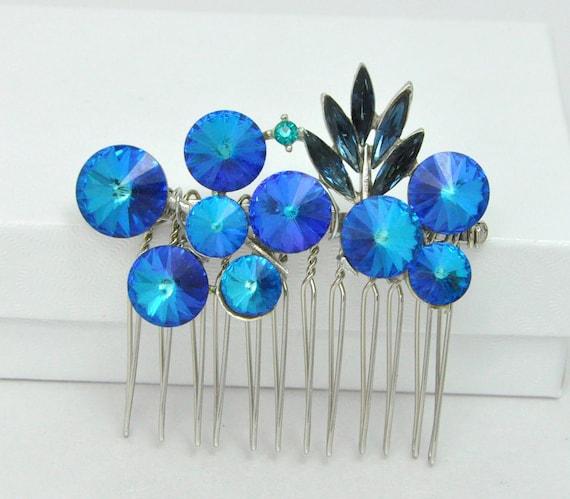 Aqua Teal Blue Rhinestone Hair Comb Modern Eco-Friendly Vintage