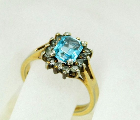 14K HGE Gold Plate Blue Topaz Ring Vintage 1980's Glass Gem