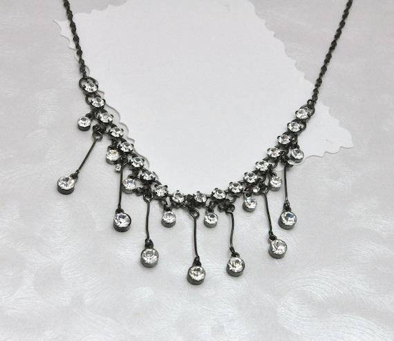 Rhinestone Fringe Necklace Antique Style Festoon