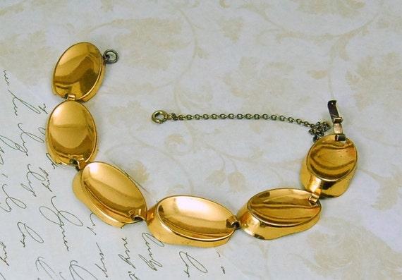Vintage Monet Sterling Bracelet Gold Vermeil Modernist Oval Links