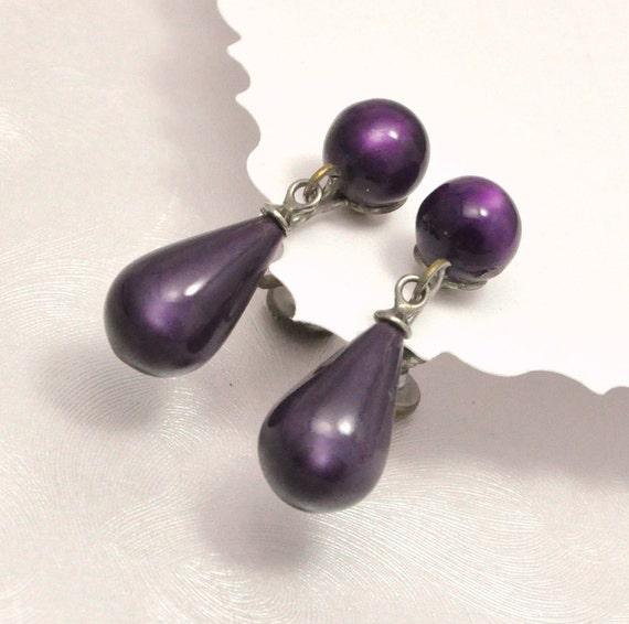 Vintage Purple Grape Teardrop Moonglow Dangle Earrings