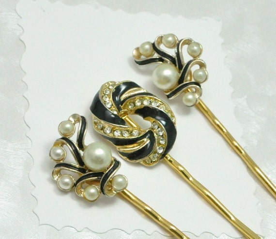 Black Enamel and Pearl Glamour Bobby Pin Set Eco-Friendly Upcycled Vintage