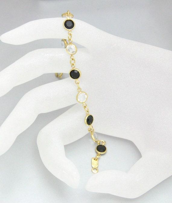 Vintage Swarovksi Bracelet Bezel Crystal Clear and Jet Black