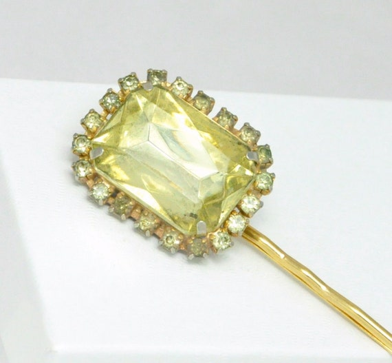 Yellow Rhinestone Bobby Pin Glam Vintage Hair Accessory